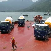Barge Concrete Delivery. Barge Delivery of Special Concrete Mix for Hong Kong - Zhuhai - Macau Bridge