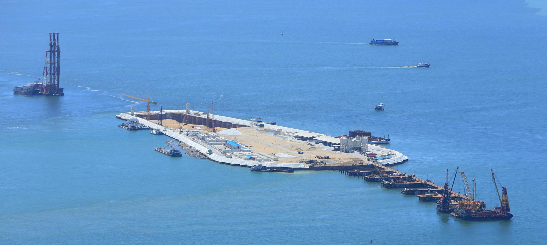 Concreting for man-made island and tunnel for the Future Hong Kong Zhuhai Macau Bridge Project.